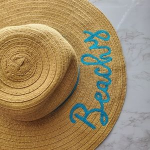 Floppy Straw Hat Embroidered Cursive Beachy Teal